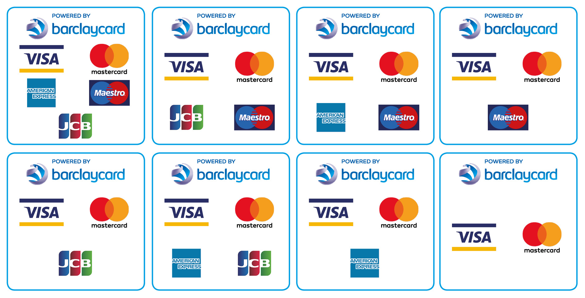 Powered by Barclaycard logos - square