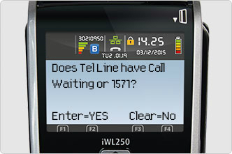 Call Waiting or 1571 options screen message