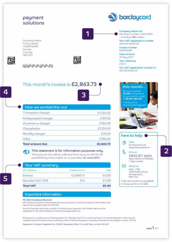 Understanding your account statement | Barclaycard Business