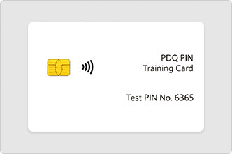 A PIN training card with test PIN