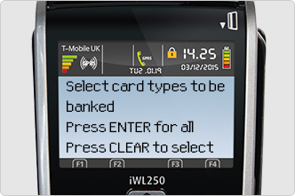 Choose to bank all card types at once, or to bank each type individually