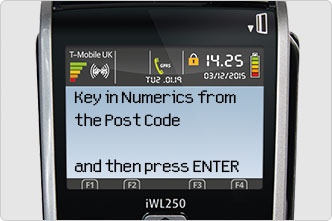screen displays key in numerics from postcode