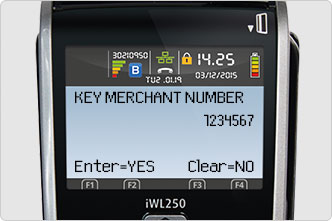Merchant number entered on screen