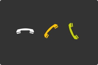 The phone icon is white and horizontal when disconnected, yellow and tilted when connecting, and green and vertical when connected