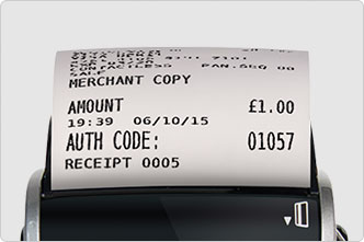 Card machine prints a merchant receipt