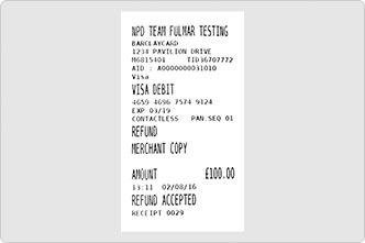Print merchant receipt with signature line from card machine