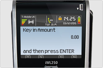 Key in sale amount screen message on card machine