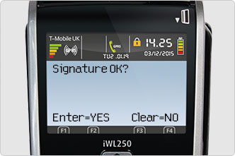 Signature OK screen message on card machine