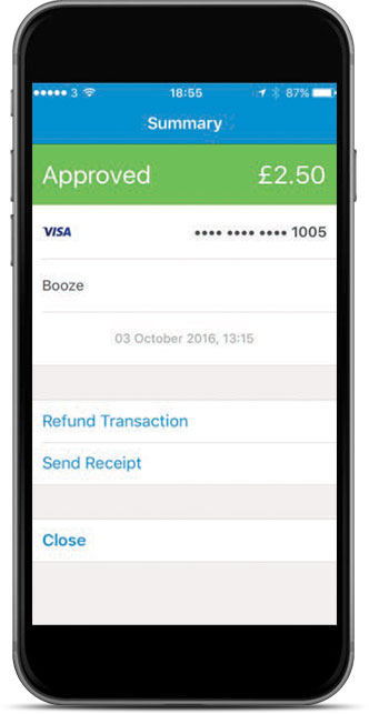 The transaction details screen