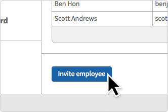 The Invite Employee button