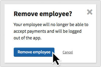 The Remove employee popup