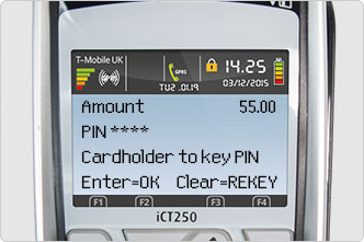 Key in PIN on desktop card machine