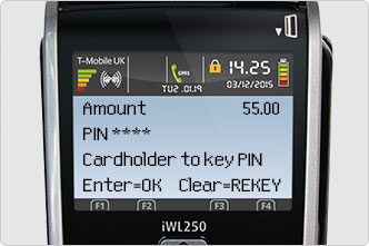 Key in PIN on card machine