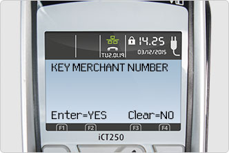 Key Merchant Number screen message