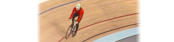 Bradley Wiggin riding around the velodrome